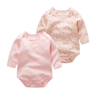 Baby Girls Long Sleeve Bodysuit Pink Bunny 2 Pack - Little Kooma