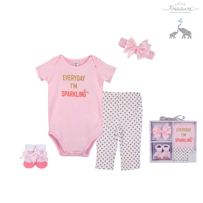 Little Treasure New Born Baby Clothing Gift Set 4Pcs 77007 - 0528 - Little Kooma