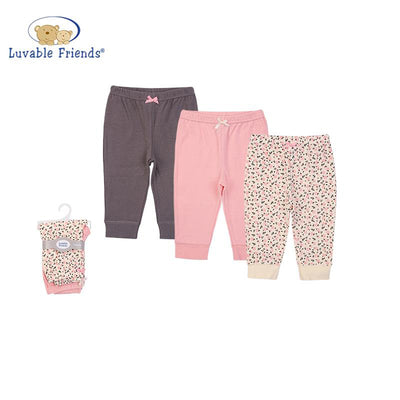 Luvable Friends Baby Girl Pants Set 3pc Berry Floral 56938CH - Little Kooma