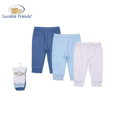 Luvable Friends Baby Girl Pants Set 3pc Blue/Grey Star 56978CH - Little Kooma