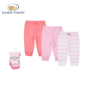 Luvable Friends Baby Girl Pants Set 3pc Scalloped Stripe 56954CH - Little Kooma