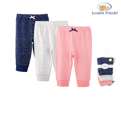 Luvable Friends Baby Girls Pants 3 Pairs Pack 32338 - 1116 - Little Kooma