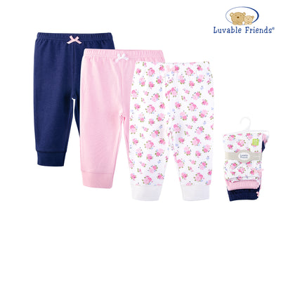 Luvable Friends Baby Girls Pants 3 Pairs Pack 32346 - 1116 - Little Kooma