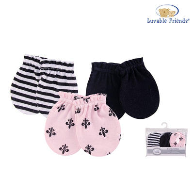 Luvable Friends Baby Scratch Mittens 3 Pairs Pack 00532 - 0528 - Little Kooma