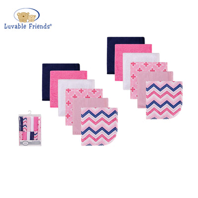 Luvable Friends Baby Washcloth 12pcs Pack 05937 - 1116 - Little Kooma