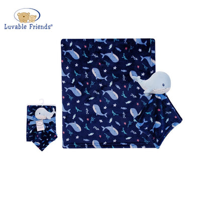 Luvable Friends Plush Blanket With Sherpa Backing Deep Sea 40403 - Little Kooma