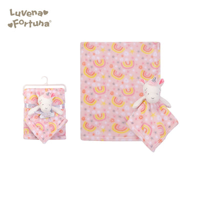 Luvena Fortuna Plush Blanket n Security Blanket R18663 - 0528 - Little Kooma
