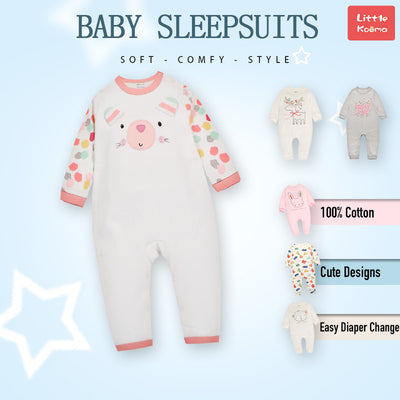Baby Bear Colorful Sleeves Jumpsuit All In One - Little Kooma