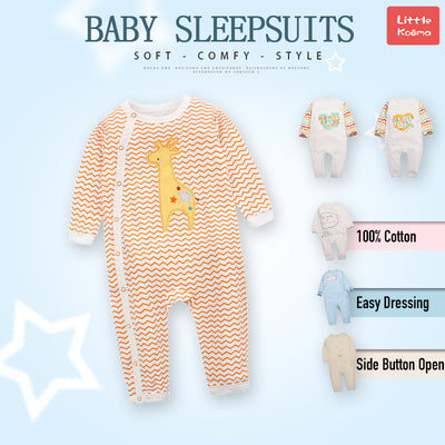Baby Orange Waves Giraffe Jumpsuit All In One - Little Kooma