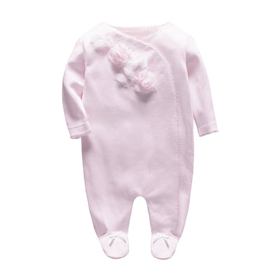 New Born Baby Pink 3D Rose Sleepsuit All In One Feet Covered - 0611 - Little Kooma