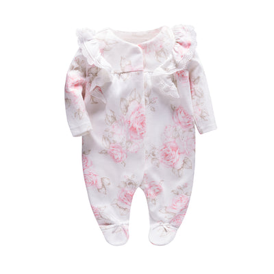 New Born Baby Pink Rose Prints Sleepsuit All In One Feet Covered - 0611 - Little Kooma