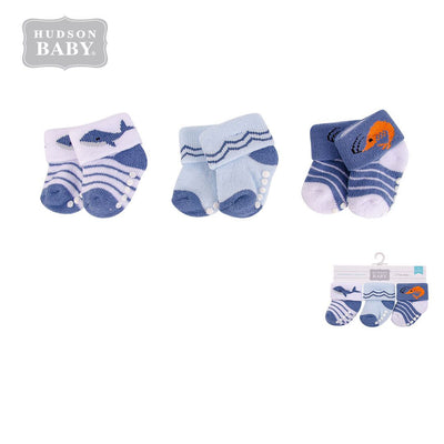 New Born Baby Terry Socks 3 Pack 00372CH Ocean - Little Kooma