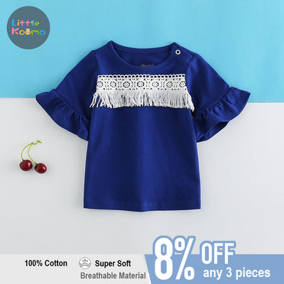 Baby Girl Ruffled Sleeves Blue Top w White Lace n Tassels - Little Kooma