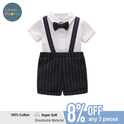 Baby Boy Suspender Suit Set White Top w Striped Black Shorts - Little Kooma