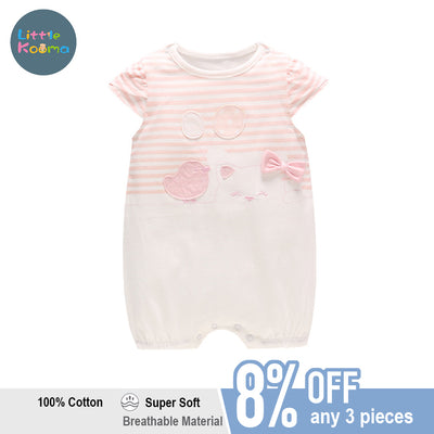 Baby Girl Striped Splicing Romper w Cat Bird Balloon - Little Kooma
