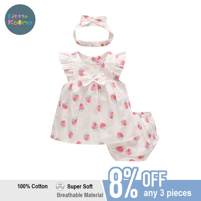 Baby Girl Strawberry Dress n Knicker n Headwrap 3 Piece Set - Little Kooma