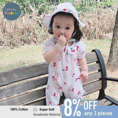 Baby Cherry Collar Romper w Collar n Hat Set - Little Kooma