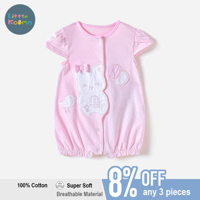Baby Girl Pink Romper w Cat Bird Balloon - Little Kooma