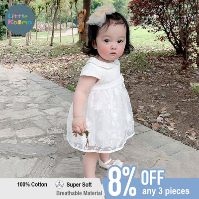 Baby Girl White Lace Collar Dress w Headwrap Set - Little Kooma