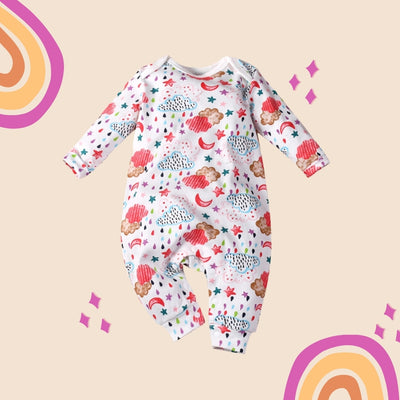Baby Girl Clouds Moon Star Rain All In One Jumpsuit - Little Kooma