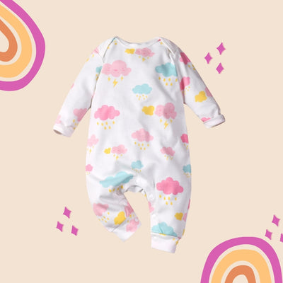 Baby Girl Colorful Clouds All In One Jumpsuit - Little Kooma