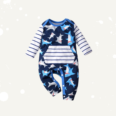 Baby Shark Prints Front Pocket All In One Jumpsuit - Little Kooma