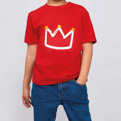 Kids Red T-shirt w Crown - Little Kooma