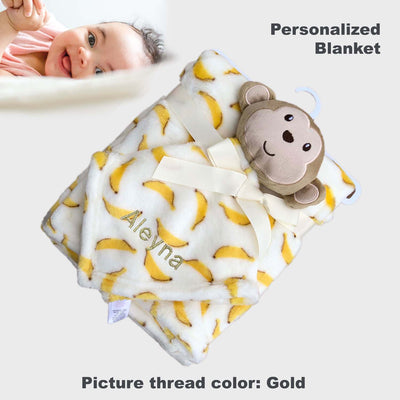 Personalised Luvable Friends Plush Blanket With Sherpa Backing Banana Monkey 40404 - Little Kooma