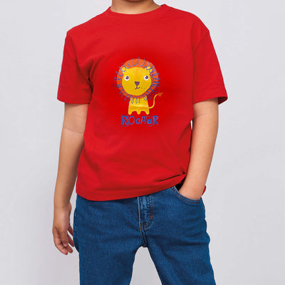 Kids Red T-shirt w Lion Casual Outfit - 0725 - Little Kooma