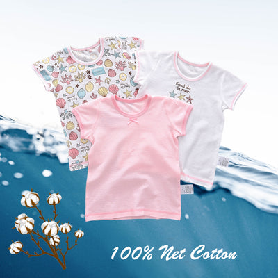 Baby Kid Girls Net Cotton Short Sleeve T-shirt Shell 3 Pack - Little Kooma
