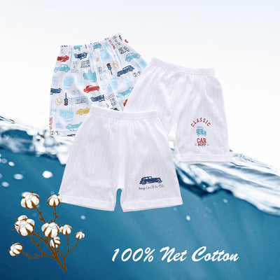 Baby Kid Boys Net Cotton Shorts Cars 3 Pack - Little Kooma