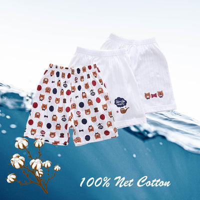 Baby Kid Boys Net Cotton Shorts Bears 3 Pack - Little Kooma