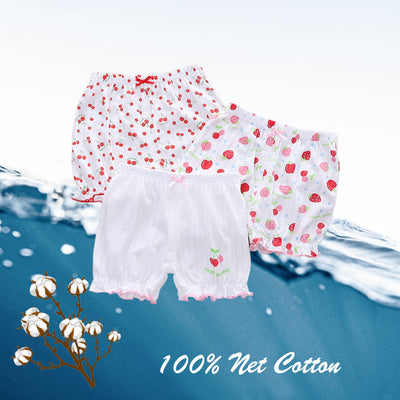 Baby Kid Girls Net Cotton Shorts Cherries 3 Pack - Little Kooma