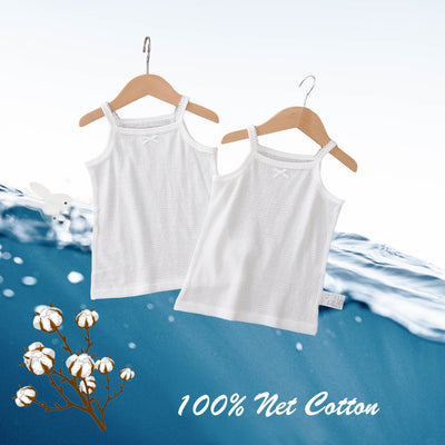 Baby Kid Girls Net Cotton Plain White Camisole Vest 2 Pack - Little Kooma