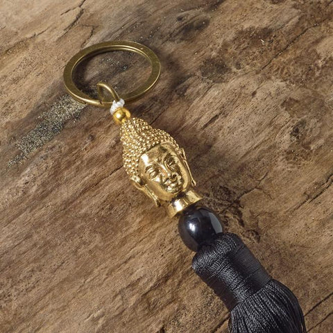 black buddha brass key ring bag tassel