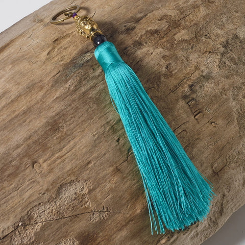 turquoise green buddha bag tassel key ring