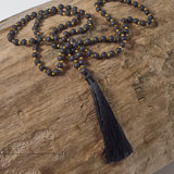 Black lava stone Mala Necklace