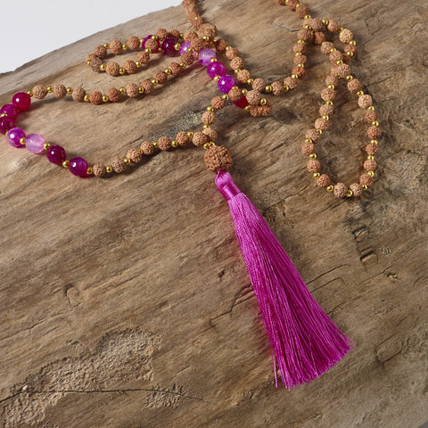 pink mala rudraksha necklace