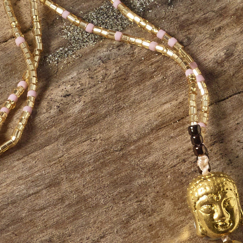'Ivory & Gold' Buddha tassel necklace