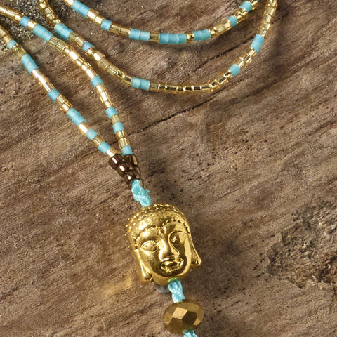 aqua buddha necklace