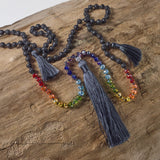 Grey tassel chakra necklace