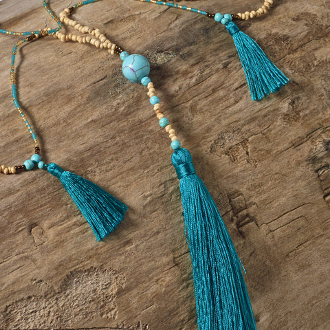 Magnesite Triple Tassel Necklace (Turquoise)