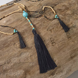 Magnesite Triple Tassel Necklace (Black)