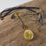 Tree of life earth grey tassel necklace