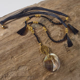 Tree of life black tassel necklace