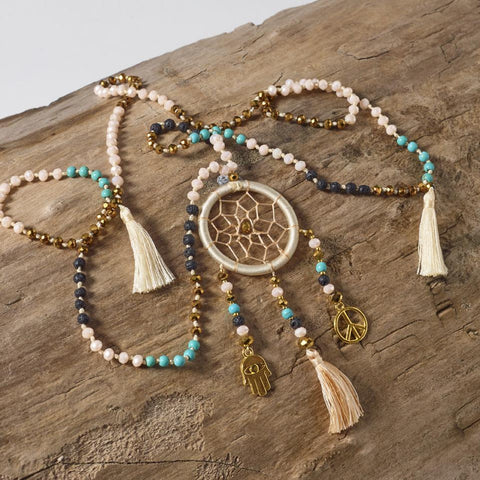 Dream Catcher Tassel Necklace (Cream)