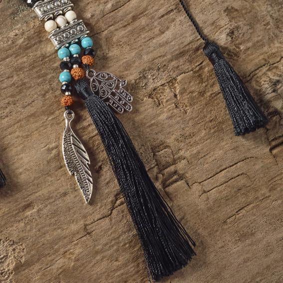 hamsa feather peace necklace