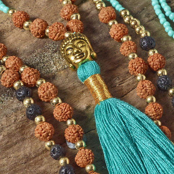 teal green buddha necklace