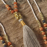 Positivity Tassel Necklace (Beige)