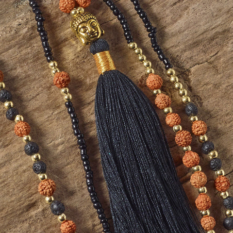 black buddha tassel necklace